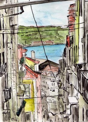 Lisbonne aquarelle