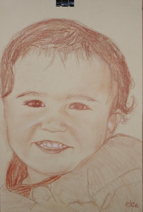 petite, fille sanguine et blanc (20X30 cm)