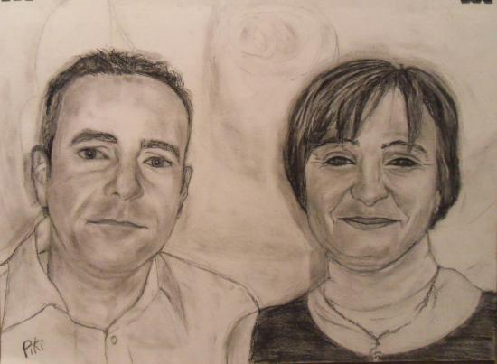 couple au fusain (40X30 cm)