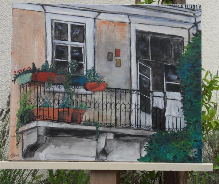 balcon à Lisbonne (60X50 cm)